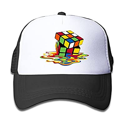 Ooiilpe Children's Grid Cap Melt The Cube Kid's Cute Cool Fitted Mesh Cap with Adjustable Snapback Strap Hat