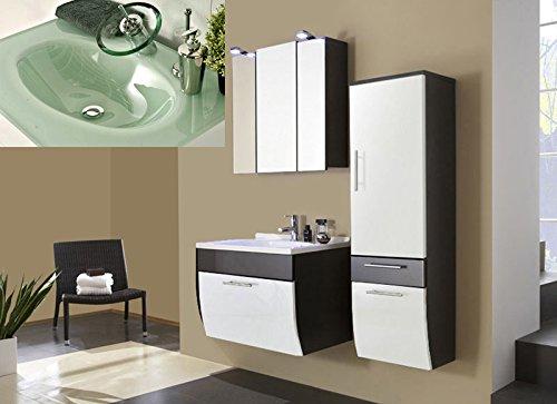 SAM® Design Badmöbel-Set Santana 3tlg, 70 cm, in weiß-anthrazit, Milchglasbecken in grün, Badezimmer mit Softclose-Funktion, 1 x Spiegelschrank, 1 x Waschplatz, 1 x Hochschrank