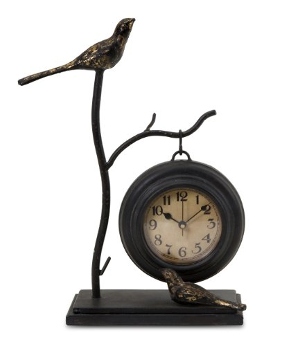 Lantern Mantle Clock - Imax 16159 Bird and Branch with Hanging Clock - Handcrafted Wall Clock, Decorative Clock, Home Decor. Home Decor Accents