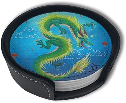 Lantern Chinese Dragon Green Home Decor Mark Cup Mat Pu Leather Set Of 6 Dining Table Decorations Round Coasters Gift Ornament Beer Mats Car Coasters