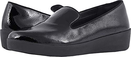 FitFlop Women's Audrey Crinkle Patent Smoking Slippers Black 10 M US M (B)