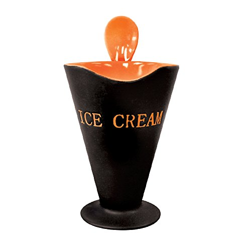 (Bowl and Spoon Set - Ceramic Tapered Novelty Ice Cream Sundae Cups and Dessert Bowl and Spoon (Orange))