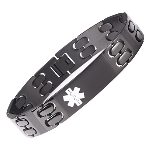 linnalove-All Black Solid Titanium Medical Alert id Bracelets for Men with Free Engraving(8.5