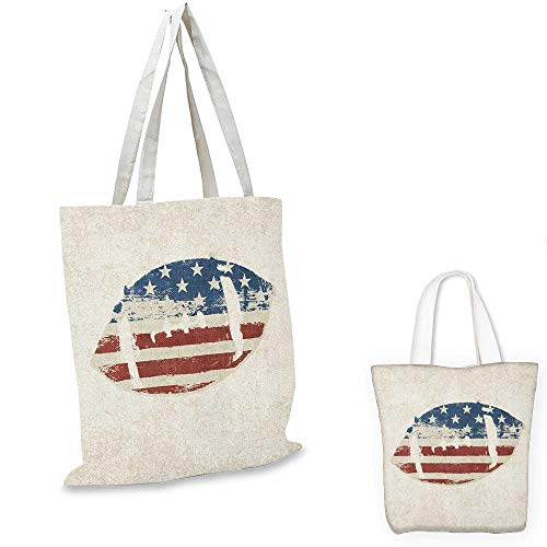 Pink Stitched Black Leather Tote - Sports easy shopping bag Grunge American Flag Themed Stitched Rugby Ball Vintage Design Football Theme emporium shopping bag Cream Blue Red. 16