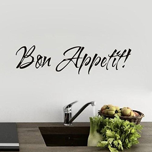 Usstore Quote Bon Appetit Dinning Decal Removable Wall Stickers Nursery Family Home Room Decor Decoration Vinyl Art (Halloween Bon Appetit)