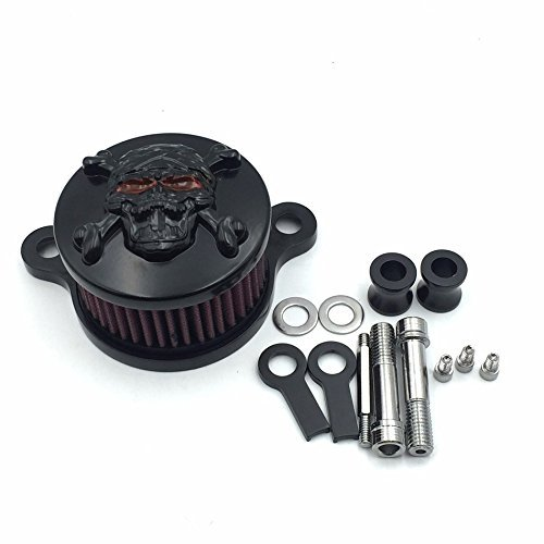 (HTT Black Skull with Cross Bone Special Eyes Air Cleaner Intake Filter System Kit For Harley Sportster XL883 XL1200 1988-2015 )
