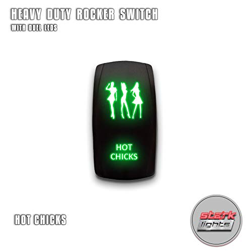 HOT CHICKS - Green - STARK 5-PIN Laser Etched LED Rocker Switch Dual Light - 20A 12V ON/OFF
