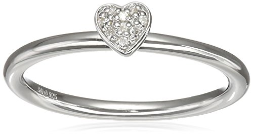 Sterling Silver with Gold Plating Diamond Heart Ring, Size 7