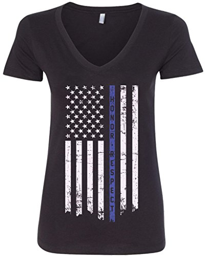 (Threadrock Women's Honor & Respect Thin Blue Line Flag V-neck T-shirt M Black)