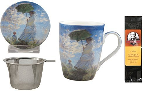 (Monet Woman with a Parasol Tea Mug, Infuser and Lid in Gift Box and 6 Tea Bags, Bundle 2 Items)