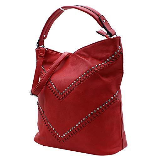 Shopper Sr Para 38 Misemiya 40 17cm Mujer j568 Rojo Mano Bolsos De Bolso xRx1Iq