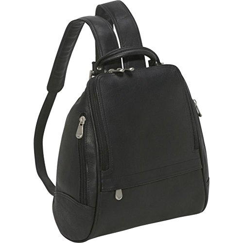 Le Donne U Zip Mid Size Woman's Leather Backpack/Purse in Black ()
