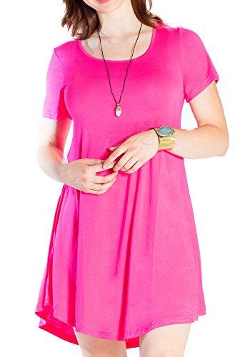 JollieLovin Women's Tunic Casual Short Sleeve Swing Loose T-Shirt Dress (Rosepink, 3X)
