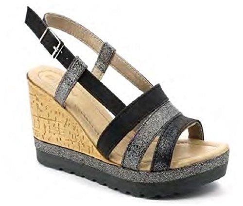 38 EU Sandales pour Femme Noir Inblu Noir 4XxOwag