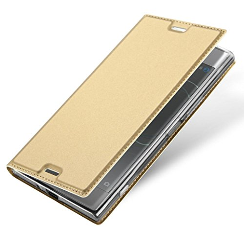 Price comparison product image For Sony Xperia XZ Premium,GBSELL Slim Layered Leather Flip Protective Stand Case Cover (Gold)