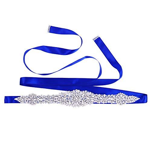 (TENDAISY Women's Rhinestone Wedding Sash Belt Crystal Sashes Bridal Belts for Bridal Gowns Royal Blue)
