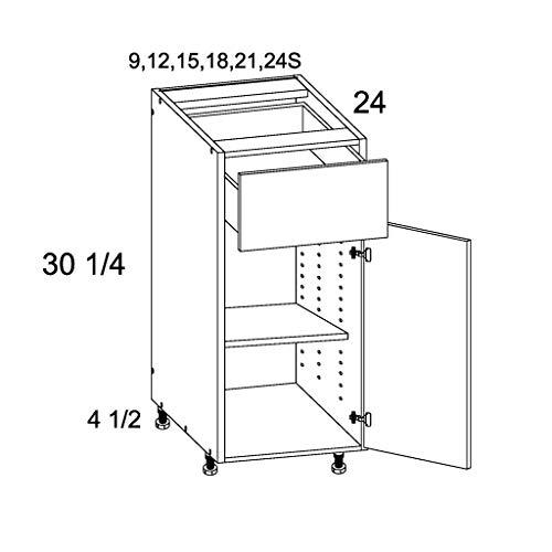 Modern Grey Wood Cabinet Textured Woodgrain Frameless Construction Kitchen Single Door Base ()