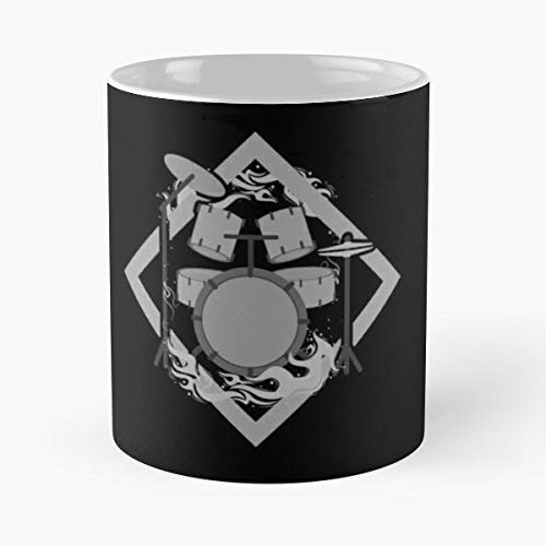Drum Drums Bass Guitar - Funny Mug Coffee Gift For Christmas Father's - Flaming Drums
