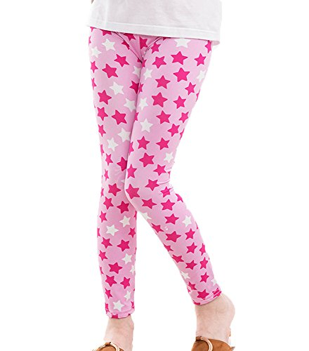 Girls Pants Floral Print Toddler Kids Classic Leggings Tights 2-13Y (5T, pink star) Pink Floral Leggings