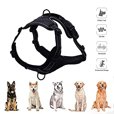 AIMENG No Pull Harness for Small Medium Large Dogs, Adjustable Outdoor 3M Reflective Dog Vest Harnesses Perfect for Training Walking, Front & Back 2 Leash Attachments and Easy Control Handle