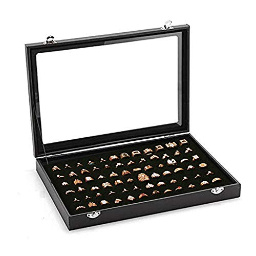 (100 Slots Ring Storage Display Box with Transparent Lid ~ Earring Holder Showcase ~ Jewelry Tray Organizer (Black))