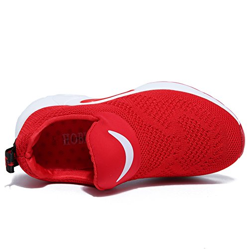 BODATU Kids Boys Girls Running Shoes Comfortable Fashion Light Weight Slip on Cushion(10, Red) - Image 5