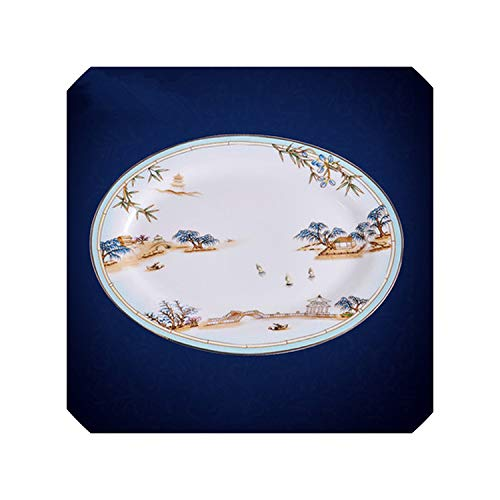 Chinese Style Luxury Porcelain Dinner Plates Creative Ceramic West Lake Hotel Tableware Cutlery Set Decorative Flat Steak Plate,12 inch fish plate (Mo Shopping Joplin)