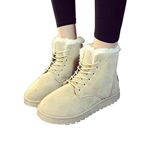Stivaletti Alla Caviglia Donna Moda Amily Flat Lace Up Foderato Di Pelliccia Inverno Caldo Neve Bootie Beige