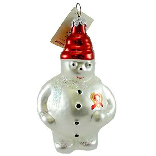 Christopher Radko FROSTY CARES Glass Ornament Aids Awareness Snowman (Ornament Frostys Favorite)