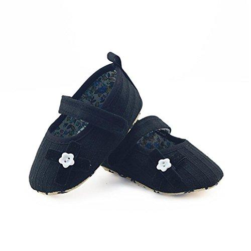 Xshuai Newstylish Newborn Infant Baby Girls Bogen Blumenkranz Schuhe Weiche Materialien Sohle Anti-Rutsch-Sneakers (0-18 Monate Weiß / Rosenrot / Schwarz / Grau) Schwarz