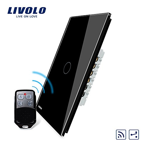 LIVOLO Black Wireless Remote Switch with LED Indicator US Standard Vertical 1 Gang 2 Way Wall Light Switch,AC 110-220V,(With a Mini Remote, But No Battery 27A/12V), VL-C501SR-12