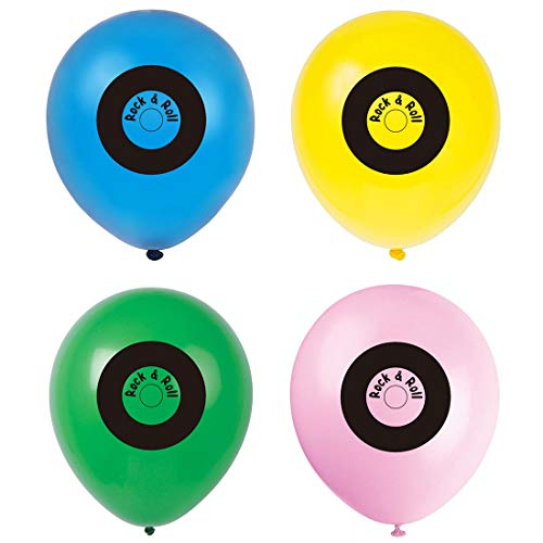 50s Themed Invitations (MAGJUCHE 50s Records Streamer Balloons, 1950s Rock N roll Themed Birthday Party Decorations,)