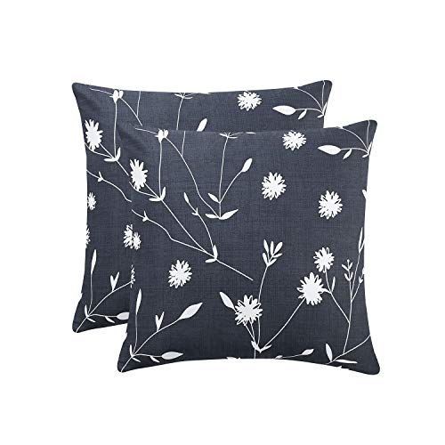 Wake In Cloud - Pack of 2 Cushion Covers, 100% Cotton Throw Cases, Dark Gray Grey with White Floral Flowers and Tree Branches Leaves Pattern Printed (Square, 18x18 Inches)