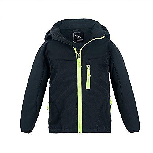 M2C Boys Hooded Waterproof Windbreaker Fleece Lined Softshell Jacket 5T Black