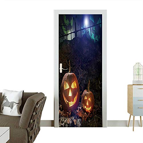 Door Sticker Wall Decals Halloween Pumpkins on Rocks in a Forest at Night Easy to Peel and Stick W31 x H79 INCH ()