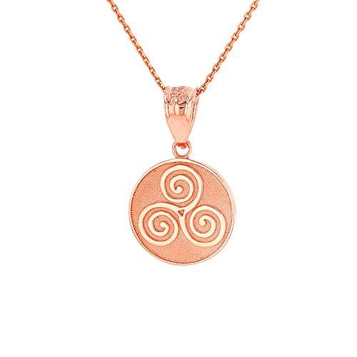 Solid 14k Rose Gold Celtic Triple Spiral Triskele Round Pendant Necklace, 20