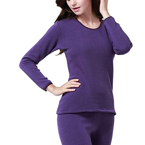 Winter Long Johns Thick Men Thermal Underwear Sets Keep Warm for Russian Canada and European Women,Women Purple,L (Womens Polypro Pants)