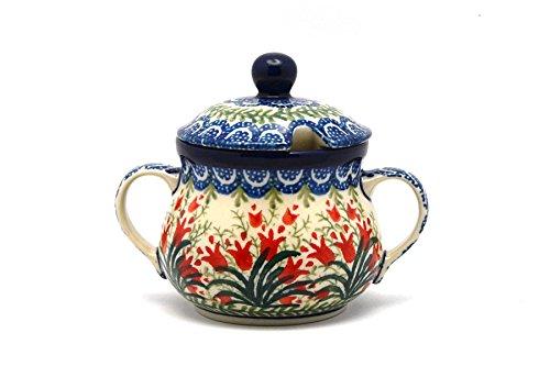 (Polish Pottery Sugar Bowl - Crimson Bells)