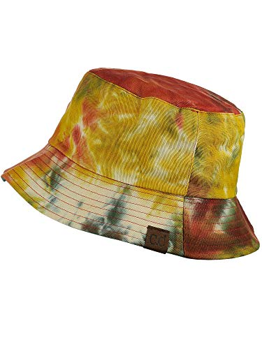 C.C Unisex 100% Cotton Packable Reversible Tie Dye Bucket Sun Hat, Mustard/Sage