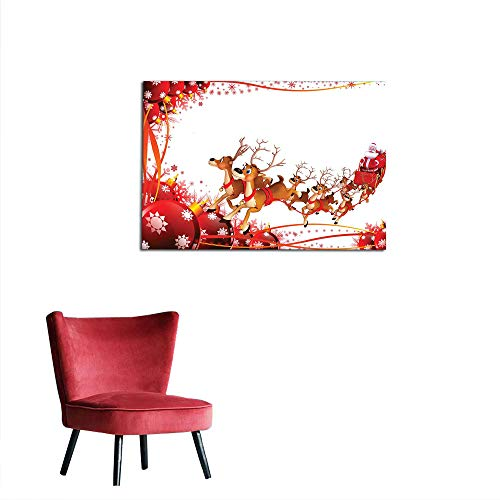 kungfu Decoration Corridor/Indoor/Living Room Santa,Abstract Frame with Xmas Balls and Snowflakes Flying Reindeer Carriage,Pale Brown Red White Cool Poster W35.4 x -