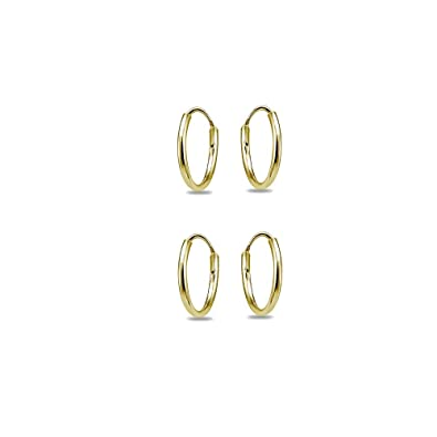 2e90bd1ae 14K Yellow Gold Filled Small Tiny Endless 12mm Lightweight Thin Round  Unisex Hoop Earrings, Set