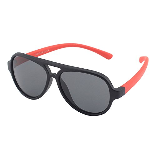 CGID Soft Rubber Kids Aviator Polarized Sunglasses for Children Age - 5 Nine Sunglasses