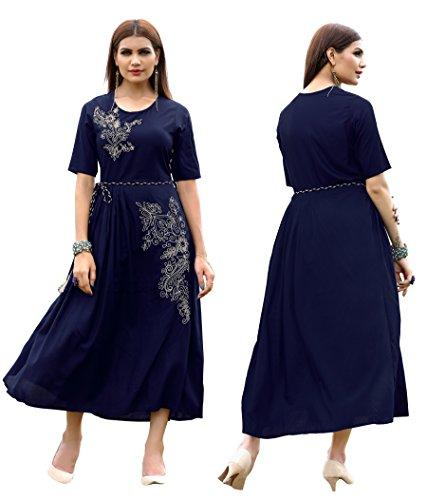 ziya Rayon Long/Cowls Kurti Women Dress Printed Kurti Women Formal & Party Wear 153-7 (Blue, 3XL-46)