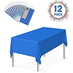"Zoe Deco Plastic Tablecloth, 54"" x 108"" Blue Tablecloth - 12 Pack - Rectangle Tablecloth for Parties, Graduations, and Picnics"