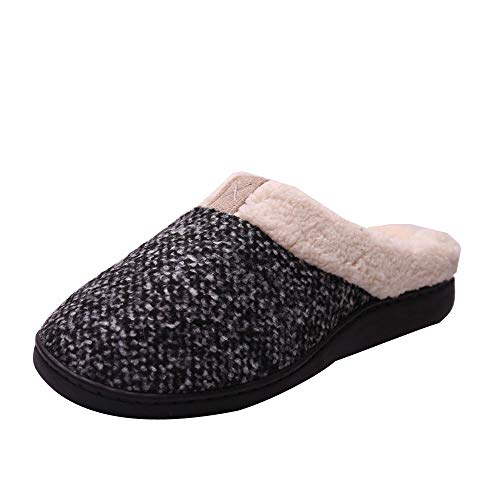 - 【MOHOLL 】 Men Women Comfort Slip On Memory Foam Slippers French Terry Lining House Shoes Outdoor Slippers Gray