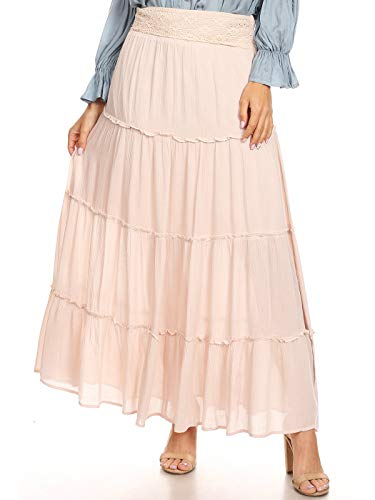 Anna-Kaci Womens Bohemian Gypsy Long Elastic Waist Maxi A-Line Tiered Skirt, Natural, Large
