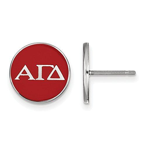 Sterling Silver LogoArt Alpha Gamma Delta Enameled Post Earrings