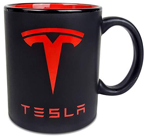 TESLA Coffee Mug - Matte Black, Red Logo Both Sides & Interior (11 oz) Best Tesla Gifts For Men, Women, Boyfriend, Boss, Dad, Mom, Husband, Wife Birthday   Model S, X, 3 Accessories