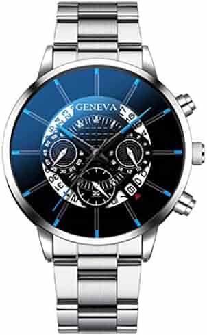 I613 Men's Quartz Watch, Chronograph Stainless Steel Waterproof Date Analog Quartz Fashion Business Wrist Watches