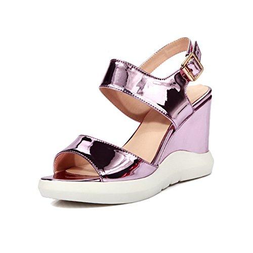 AgooLar Women's Open Toe Buckle PU Solid High Heels Sandals Pink